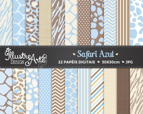 Papel Digital Safari Azul