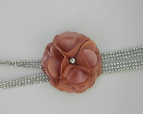 Head Band Strass Flor Nude