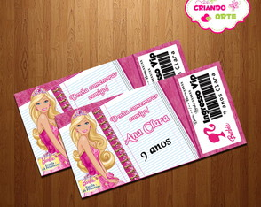 Arte Digital Convite Barbie
