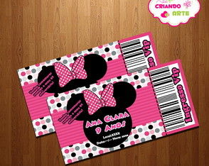 Arte Digital Convite Ingresso Minnie