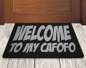 Tapete Capacho Welcome To My Cafofo - Preto - 60x40cm