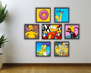 Kit quadro Homer Simpson com moldura