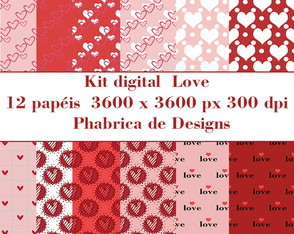 kit digital papel Love