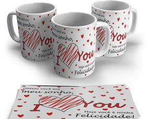 Caneca Porcelana I Love You