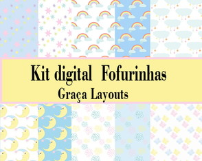 kit digital papel fofurinha