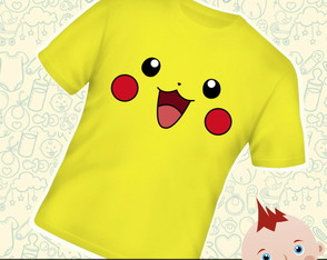 Camiseta Infantil Face Pikachu Pokemon