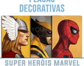 Placas Decorativas Super Heróis Marvel