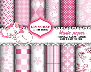 11 Kit Papel Digital Gata Marie