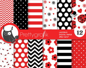 Kit Papel Digital Joaninha ladybug