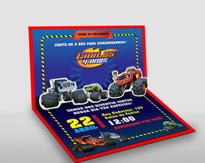 Convite premium pop up 3D Blaze and the Monster Machines