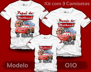 Kit Camiseta Carros Disney Personalizada