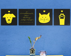Conjunto de Quadros Dog And Cat