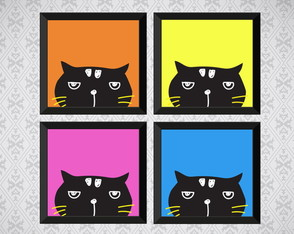 Kit 4 Quadros - Gato Preto - Pop Art - 20x20cm