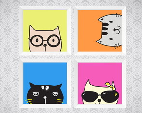 Kit 4 Quadros - Gatos - Pop Art - 20x20cm