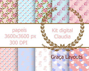 kit digital papel Claudia