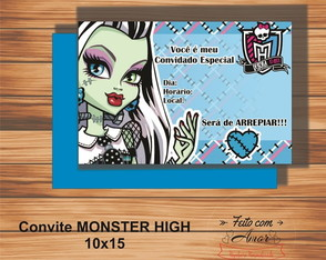 CONVITE MONSTER HIGH ( FRANKIE HIGH)