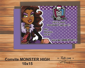 CONVITE MONSTER HIGH (CLAWDEEN WOLF)
