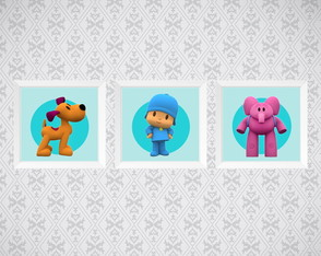 Kit 3 Quadros - Personagem Pocoyo - Infantil - 15x15cm
