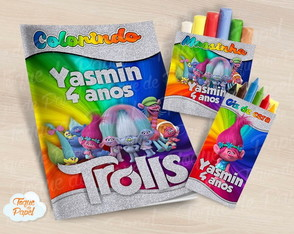 Kit colorir giz massinha Trolls