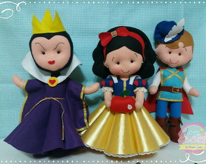 Kit Branca de Neve 3 personagens Feltro