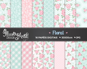 Papel Digital Floral / Shabby Chic