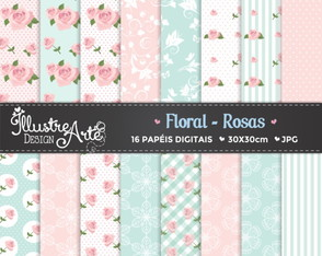 Papel Digital Floral Rosas / Shabby Chic