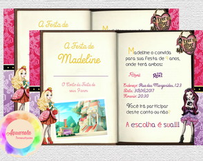 Convite Ever After High 7x10cm(Impresso)