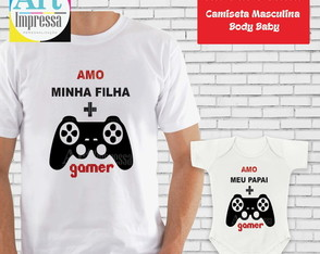 Kit Camiseta e Body Pai e Filha Game