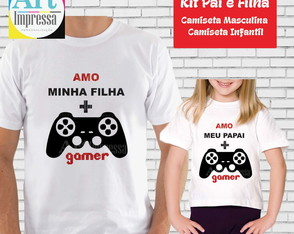 Kit Camiseta Pai e Filha Game