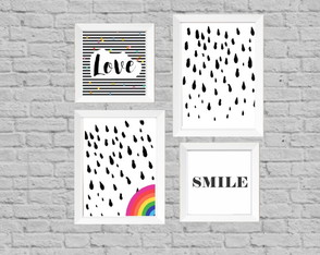 Kit quadros smile love