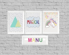 Kit quadros infantil magical unicornio