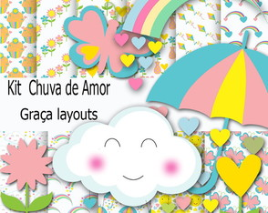 Kit Digital Papel chuva de Amor