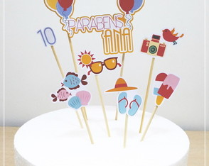 Kit Topper para bolo- Tema Summer Party