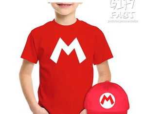 Kit Camiseta e boné Mario Bros