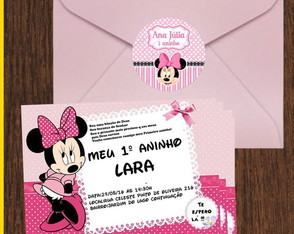 Convite Minnie rosa 7x10 com envelopes