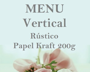 Menu Vertical Rústico em Papel Kraft
