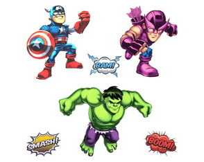 Kit 12 Adesivos - Super Hero Squad Marvel Kids