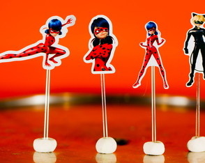 Lady Bug Miraculous Toppers para doces