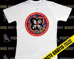 Camiseta Infantil Kiss Rock and Roll Over