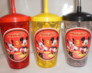 Copo com Canudo 500ml Mickey e Minnie nv mod 03