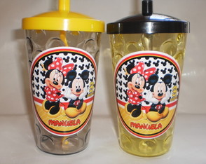 Copo com Canudo 500ml Mickey e Minnie nv mod 06