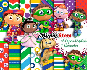 Kit Digital Super why Scrapbook
