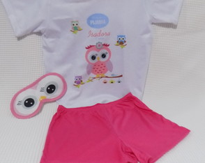 Kit pijama, máscara e chinelo