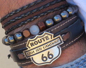 kit 3 Pulseiras Masculinas Route 66 Top Style