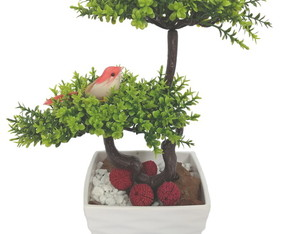 Bonsai Arranjo Flor Artificial Verde Vaso Branco Acrílico