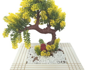 Bonsai Grande Arranjo Flor Artificial Vaso Madeira Branco