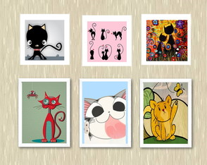 "Kit Quadros ""Cats"" - A4 e 23x23"