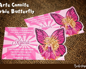 Convite Barbie Butterfly (Arte Digital)