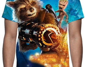 Camiseta Guardiões Da Galáxia 2 Rocket E Baby Groot