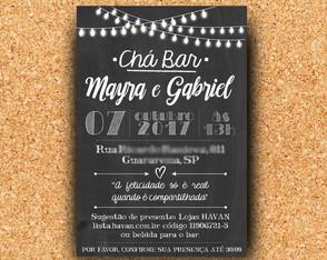 ... Convite Chá Bar Chalkboard   Digital